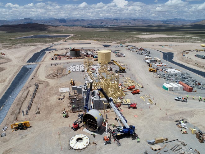 An aerial shot of Pumpkin Hollow process facilities under construction.