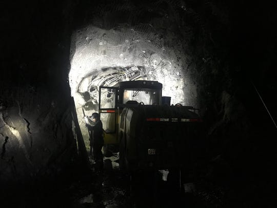 Alimak mining equipment in the East North Vent Shaft.