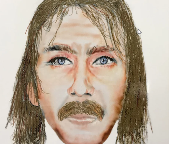 An artist's rendering of a suspicious person seen in the area of Roger Kelly's shooting.