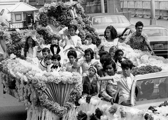 A decorated float in the Puerto Rican Festival parade, August 1976.