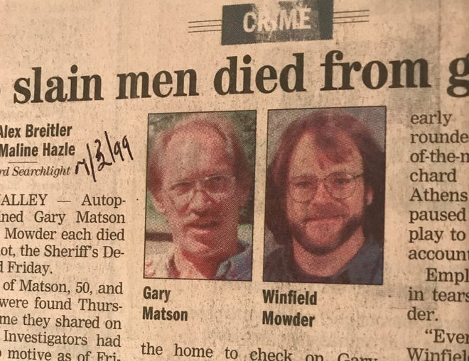 A story in a newspaper clipping from July 3, 1999, reported that two men, Gary Matson and Winfield Mowder, had died from gunshots.