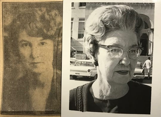 Mamie Barfield pictured in 1936 (left) and 1968. Barfield was the City of San Angelo secretary for 50 years, starting in 1918.