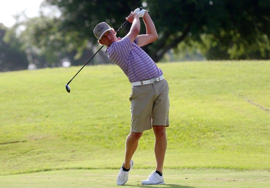 Reed Stegall watches his ball sail down the course during the 2019 Men's Partnership at the San Angelo Country Club on Thursday, June 27, 2019.