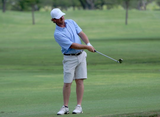 Logan Philley chips his ball onto the green during the first round of play at the 2019 Men's Partnership at the San Angelo Country Club on Thursday, June 27, 2019.