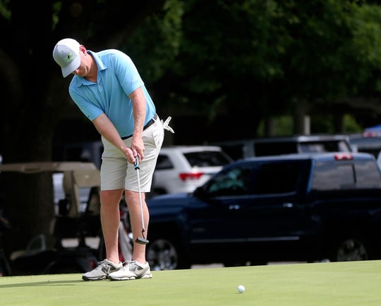Stephen Knight putts during the first round of the 2019 San Angelo Country Club Men's Partnership on Thursday, June 27, 2019.