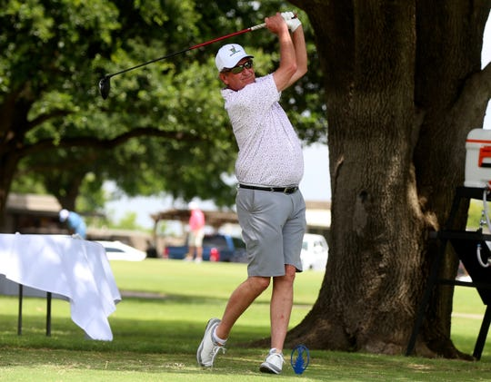 Marshall Brown drives the ball down the fairway during the opening round of the 2019 San Angelo Country Club Men's Partnership on Thursday, June 27, 2019.