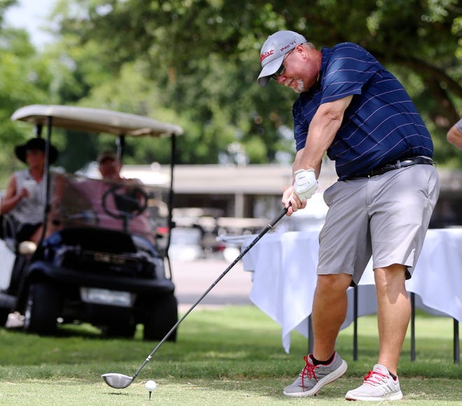 Cory Adams drives the ball during the first round of the 2019 Men's Partnership at the San Angelo Country Club on Thursday, June 27, 2019.