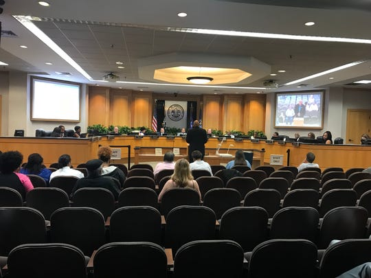 Most audience seats empty at a City Council meeting Tuesday.