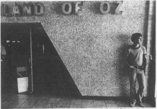 Jay Mitchell waits for his friend outside Land of Oz at the Empire Mall in 1981.