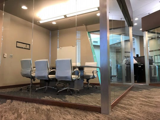 The Community Conference Room, part of the new, no-cost coworking space inside the First Bank & Trust location at 2300 W. 57th St. in Sioux Falls.