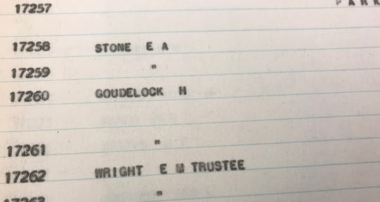 """With a first name of """"Hamlet,"""" why go with """"H"""" Goudelock?  This is notation is from 1938 tax records available at the Greene County Archives."""