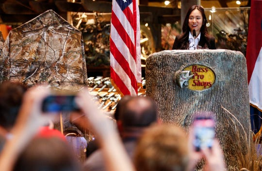 Winner of the Junior Duck Stamp design contest Nicole Jeon speaks at an event revealing the design of 2019-2020 Federal Duck Stamp and Junior Duck Stamp at Bass Pro Shops in Springfield, Mo., on Friday, June 28, 2019.