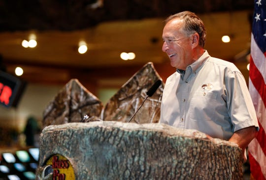Bass Pro Shops founder Johnny Morris speaks during a reveal of the 2019-2020 Federal Duck Stamp and Junior Duck Stamp at Bass Pro Shops in Springfield, Mo., on Friday, June 28, 2019.