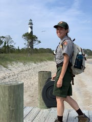 U.S. Park Ranger Tabitha Bryant, a Riverheads graduate, finishes her morning commute to Cape Lookout National Seashore.
