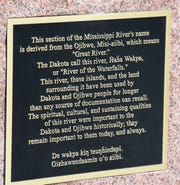 The historical marker describes the relationship between Native Americans who who first settled the region and the Mississippi River, Friday, June 28, 2019 at Riverside Park. There will be an electronic display on the marker in the future to further instruct the public.