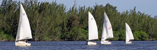 Youth Sailing Foundation students under sail, transporting shells to the breakwater site along the western shoreline of the Indian River Lagoon, just north of the Barber Bridge in Vero Beach. Over the past year, students and volunteers have transported over 30 tons of fossilized shells in 60-pound mesh bags to 10 sites along in the lagoon.