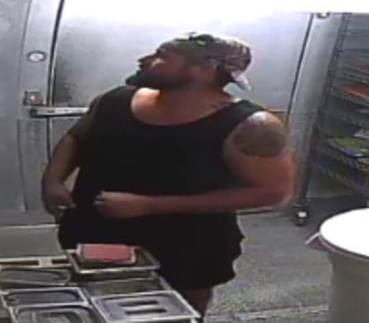 Police are seeking a man for burglary in two locations in Jensen Beach, where he is believed to have broken into restuarants, made himself a meal and then taken the safe.