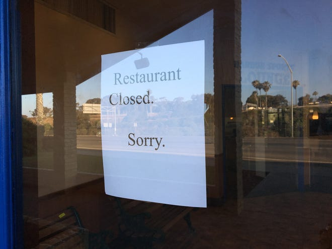 """Would-be diners at Carrows in Ventura this week are greeted by a sign that reads """"Restaurant closed. Sorry."""" The chain's final Ventura County location appears to have closed on or around June 25."""