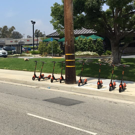 TukTuk Scooters' test deploymentof 25electric scooters in Simi Valley - without the city's permission - was short-lived. The company was ordered by the city to remove the scooters, such as these, by noon Saturday.