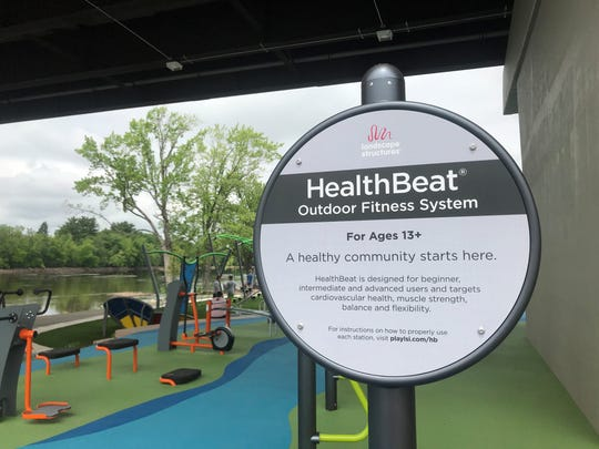 HealthBeat is the workout area at the new Riverlife Park overlooking the Wisconsin River and underneath the Bridge Street bridge.