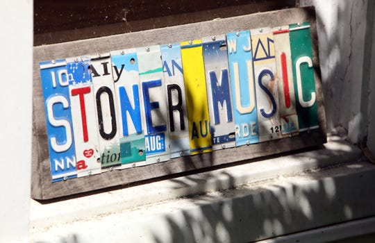 """A sign at musician Rob Stoner's home in Nyack June 28, 2019. Stoner, who played bass and sang during Bob Dylan's Rolling Thunder Revue, reflected on the new Netflix film, """"Rolling Thunder Revue: A Bob Dylan Story by Martin Scorsese."""""""
