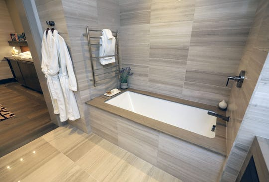 A model bathroom for the St. Regis Residences being constructed in Rye, was constructed in the sales gallery, as pictured June 28, 2019.