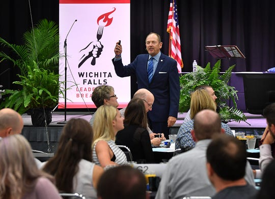 Chip Eichelberger speaks during the 2019 Wichita Falls Leadership Breakfast Friday morning at the Ray Clymer Echibit Hall. The event benefits Wichita Christian School.