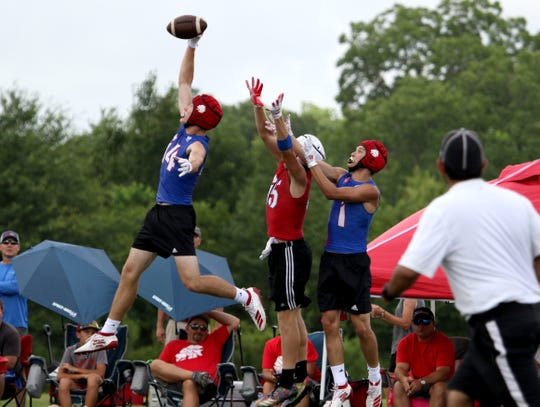 Jim Ned competes against Graham in the Texas State 7on7 championships Friday, June 28, 2019, at Veterans Park and Athletic Complex in College Station.