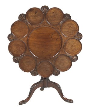 Names of antiques change as their original use is forgotten. This table used to be called a wine-tasting table, but today we know it was a small table used to serve breakfast or tea. It is worth about $1,500.