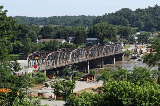 Replacement of the Philo bridge over the Muskingum River has moved at a snails pace this year because of high water.