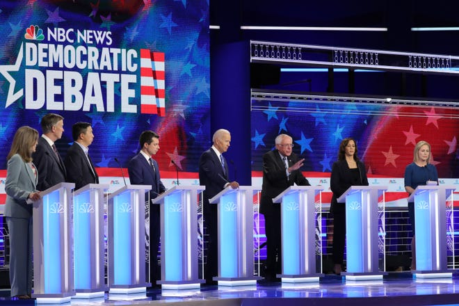 Democratic presidential candidates take part in the second night of the first Democratic presidential debate in Miami, Florida, on June 27, 2019.