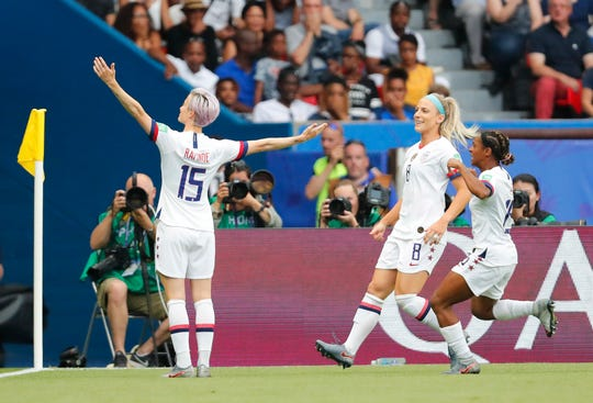 June 28: United States forward Megan Rapinoe celebrates after scoring a goal.