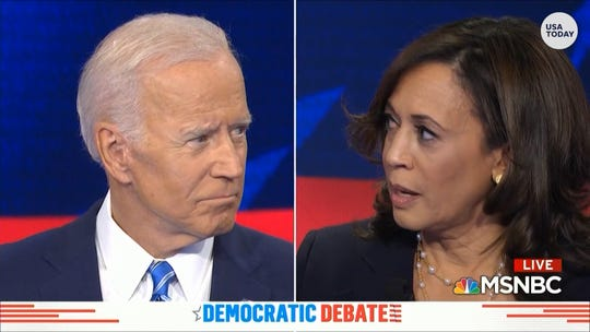 "U.S. Sen. Kamala Harris said in a presidential debate that former Vice President Joe Biden's decades-ago stance on busing was ""very hurtful"" to her."