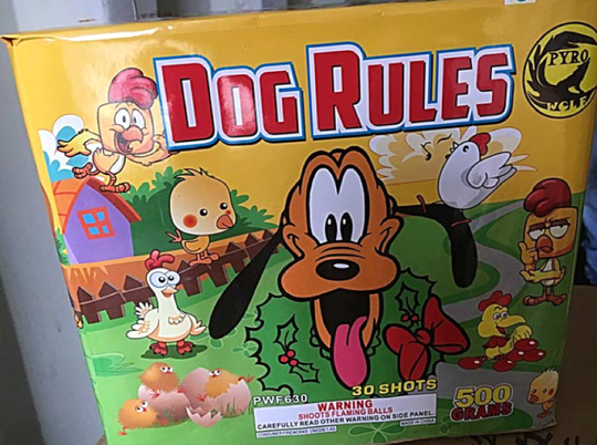 Dog Rules is one of 22 different kinds of fireworks being recalled that were sold at Patriot Pyrotechnics/Bill's Fireworks.