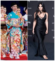 This combination photo shows a woman wearing a kimono during an award ceremony of the ISU World Team Trophy Figure Skating competition in Fukuoka, Japan, on April 13, 2019, left, and reality star Kim Kardashian West at the 2018 LACMA Art+Film Gala in Los Angeles on Nov. 3, 2018.