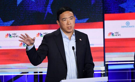 Entrepreneur Andrew Yang speaks during the second Democratic primary debate in Miami on June 27, 2019.