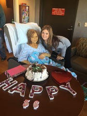 Stephanie Logan-Rice celebrates her 36th birthday with her mother in the hospital soon before her mother died of cirrhosis in 2016.