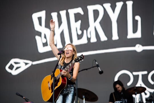Sheryl Crow performs on the Pyramid stage on day three of Glastonbury Festival in England.