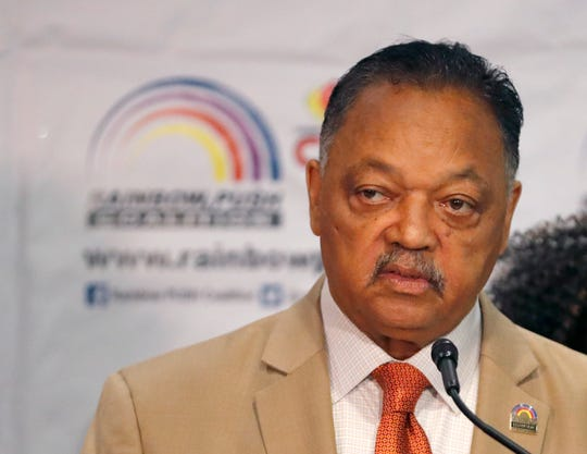 Rev. Jesse Jackson addresses reporters at the start of the Rainbow PUSH Coalition Annual International Convention Friday, June 28, 2019, in Chicago. Former vice president Joe Biden, the day after a rocky debate performance, addressed the five-day convention.