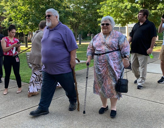 Susan Bro, Heather Heyer's mother, arrives at court in Charlottesville,Va., June 28, 2019. Heyer was killed by James Fields Jr. when he rammed her with his car during a demonstration in 2017.