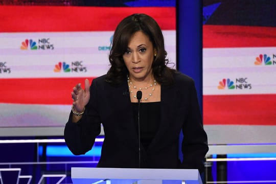 Sen. Kamala Harris, D-Calif., speaks during the second Democratic primary debate in Miami on June 27, 2019.