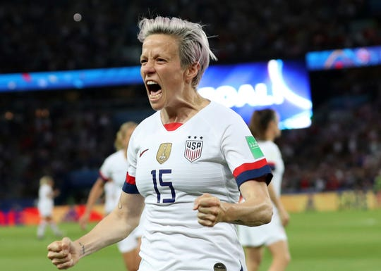 Megan Rapinoe carried the U.S. past France with two goals on Friday.