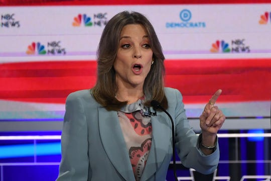 Author Marianne Williamson speaks during the second Democratic primary debate in Miami on June 27, 2019.