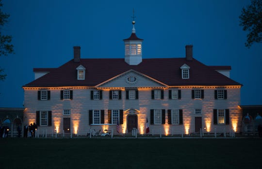 The Mansion at Mount Vernon, the estate of the first US President George Washington, in Mount Vernon, Virginia.