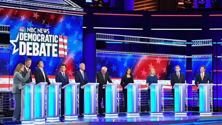 Democratic presidential hopefuls participate in the second Democratic primary debate in Miami on June 27, 2019.