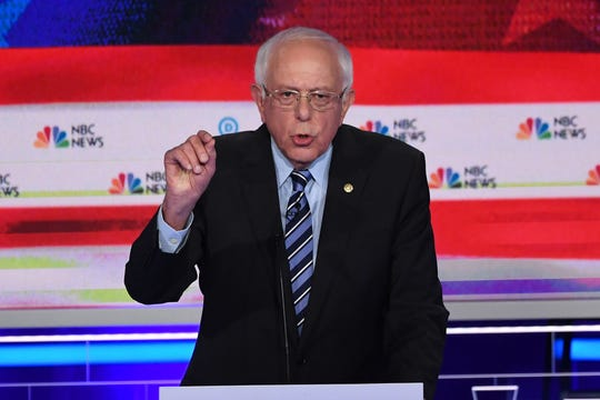 Sen. Bernie Sanders, I-Vt., speaks during the second Democratic primary debate in Miami on June 27, 2019.