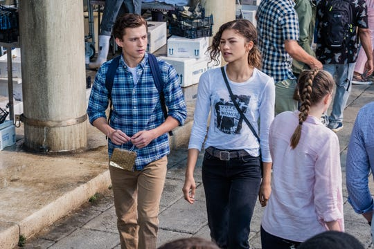 """Peter Parker (left, Tom Holland) spends some quality time with crush MJ (Zendaya) in """"Spider-Man: Far From Home."""""""