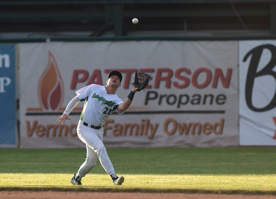 The Vermont Lake Monsters' Nick Osborne catches a fly ball in the outfield against the Connecticut Tigers during a game at Centennial Field on Wednesday, June 26, 2019.