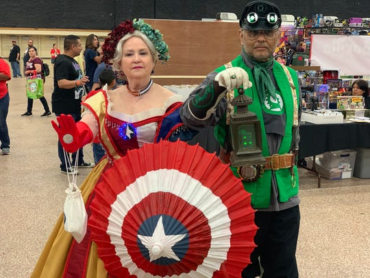 "Laura and Charles Lara pose in their steampunk version of ""Avengers"" and ""Green Lantern"" at the third annual Corpus Christi Comic Con on Saturday, June 29, 2019."