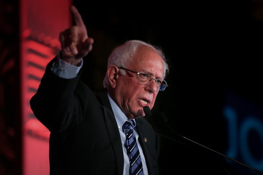U.S. Sen. Bernie Sanders delivers remarks, Friday, June 28, 2019, during the 2019 National Newspapers Publishers Association Convention at the Westin Hotel in Cincinnati.